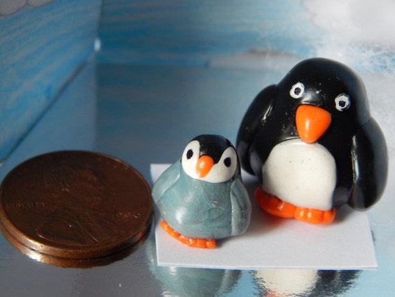 "Miniature Clay Penguin Set ""Peter and Paul"""
