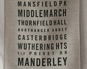 austen/bronte/woolf bus roll (flax) linen tea towel