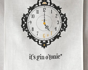 gin o'tonic linen tea towel
