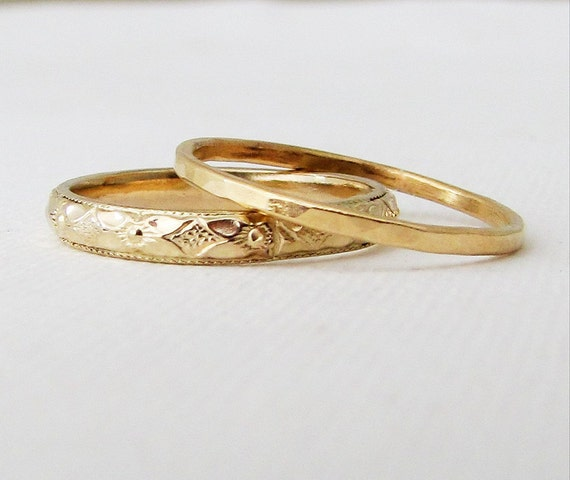 Womens Wedding Bands Floral Wedding Band Set Gold By Goldsmack