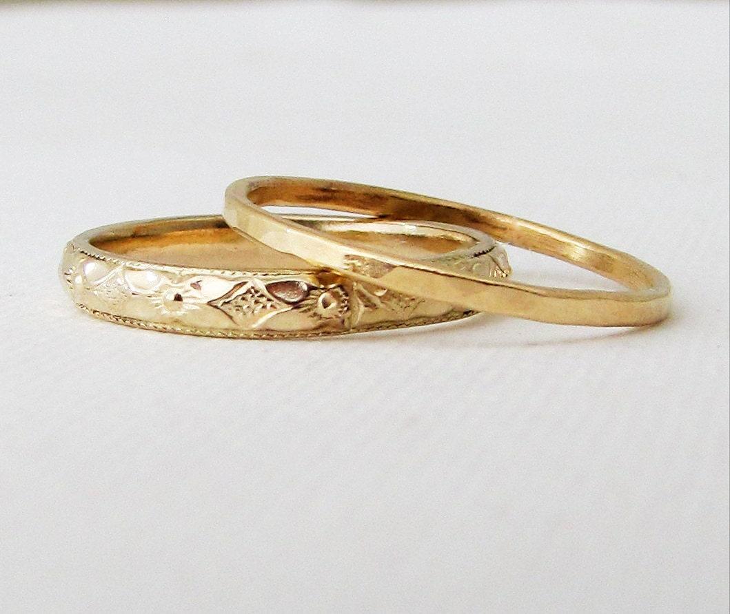 womens wedding band floral wedding band set gold stacking. Black Bedroom Furniture Sets. Home Design Ideas