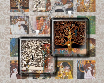 "Art Nouveau Klimt Gustav-  Digital Collage Sheet – 1"" & 1.5"" sizes – Printable Download for Pendants, Earrings, Charms"