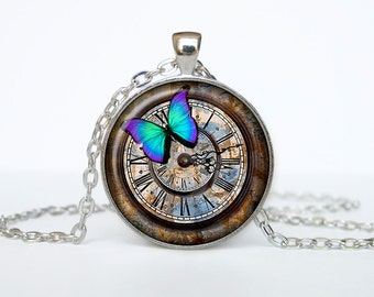 Steampunk necklace Steampunk pendant watch necklace Old Clock Steampunk clock jewelry