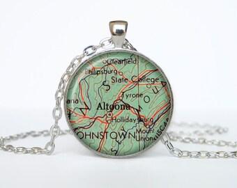Altoona map pendant, Altoona map necklace, Altoona map jewelry, Altoona Pennsylvania