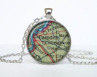 Camden map pendant, Camden map necklace, Camden map jewelry, Camden  New Jersey