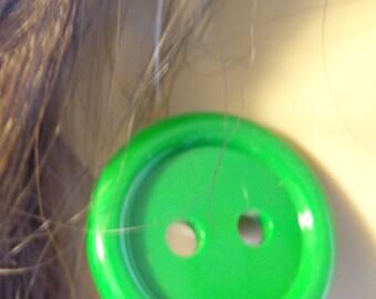 VINTAGE Earrings Green Circle Button Earrings GREEN Button pierced 1.25 inch Diameter