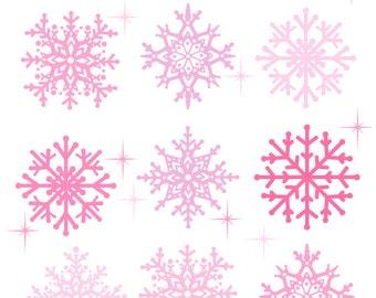 Pink Snowflake Clip Art, Cute Christmas Clipart, Holiday Digital Clip Art