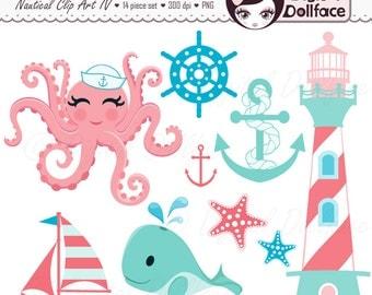 Summer Beach Clipart, Nautical, Ocean, Sea Clip Art, Sailing, Waves Clipart