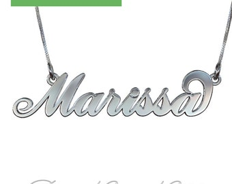 "Carrie Name Necklace in 14k White Gold (1.3mm thick) - 3D ""Marissa"" Design"