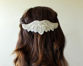Silver beaded head piece on comb, bridal hair accessory, wedding head piece