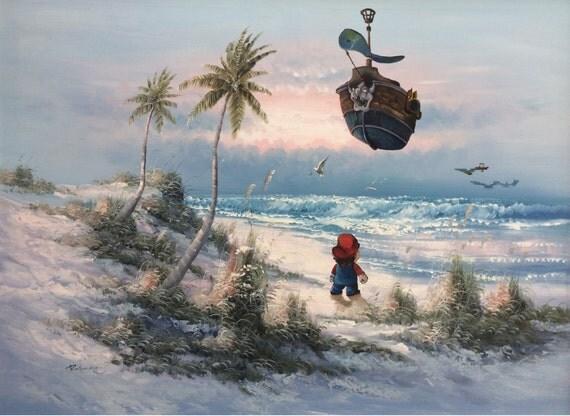 Super Mario Brothers Parody, Bowser Airship Painting, 'No Holiday' - Limited Edition Print or Poster, Super Mario Print, Mario Fan Gift