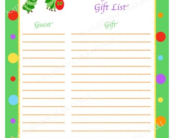 very hungry caterpillar baby shower gift list digital download