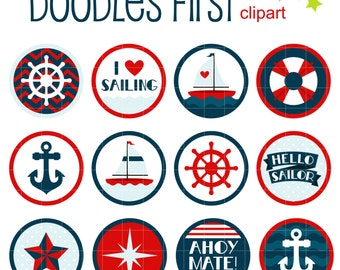 Ahoy Mate! Round Collage Sheets for Scrapbooking Card Making Cupcake Toppers Paper Crafts Digital Collage Sheet
