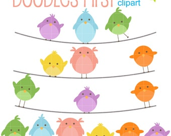 Cute Birds On Wire Clip Art for Scrapbooking Card Making Cupcake Toppers Paper Crafts