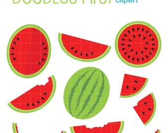 Yummy Watermelon Digital Clip Art for Scrapbooking Card Making Cupcake Toppers Paper Crafts