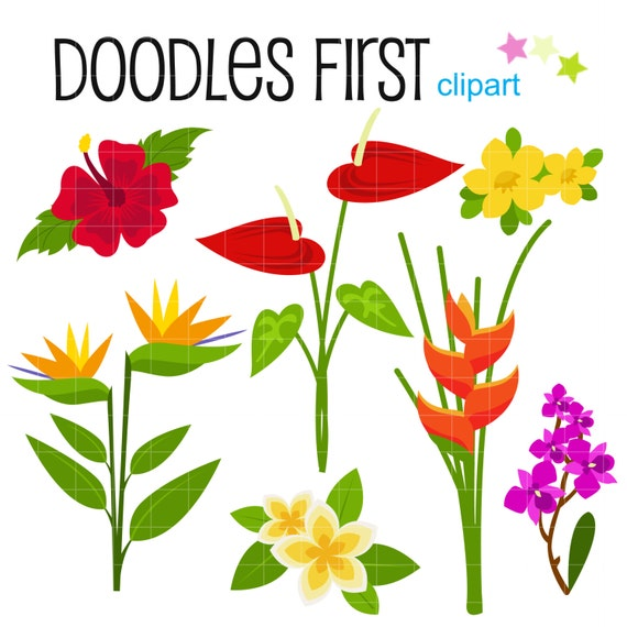 Tropical Flowers Digital Clip Art for Scrapbooking Card Making
