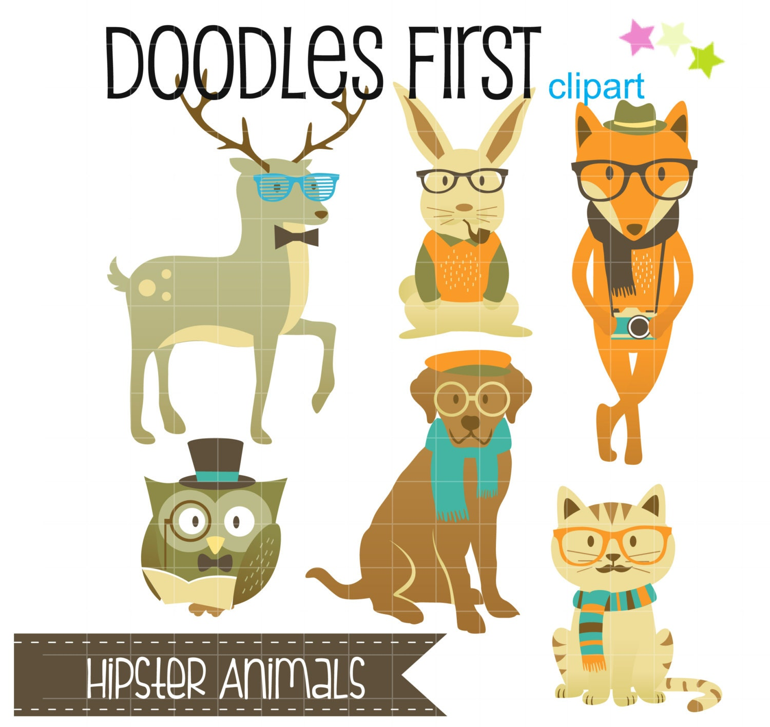 Cute Hipster Animals Clipart Digital Clip Art for Scrapbooking