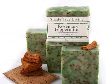 Rosemary Peppermint Soap, Peppermint Soap, Rosemary Soap,  Handmade Soap Bar, with Essential Oil, Vegan Friendly