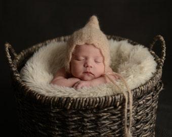 Mohair Silk Crochet/Knitt Pixie Bonnet - Baby bonnet- Baby hat.