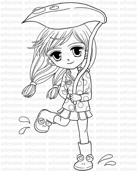 Digital Stamp-April's Rain, Coloring page, Instant Download Cute Digi Stamp, Printable Line art for Card and Craft Supply