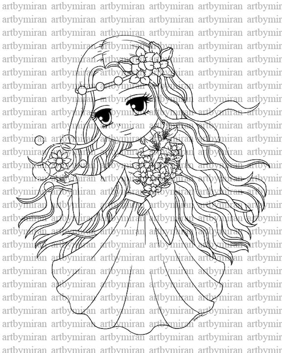 Digital Stamp-Blossom Breeze, Digi Stamp, Coloring page, Printable Line art for Card and Craft Supply