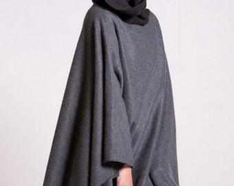 Gray Fleece Poncho, Hooded Cape, Plus Size Hoodie, Poncho Cape, Black Hood, Hooded Poncho, Gray Hooded Cloak, Fleece Cape