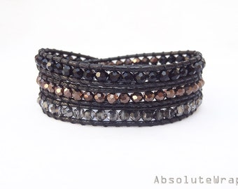 Black crystal wrap bracelet on polyester cord, black wrap bracelet, triple wrap bracelet