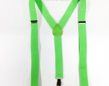 bright green bow tie and suspenders -  neon green bowtie and suspenders set, neon suspenders for neon dress, dance festivals and events