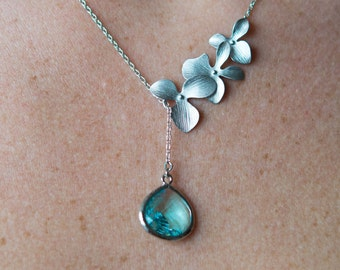 Aqua Orchid Lariat Necklace, Wedding Jewelry, Bridesmaid Jewelry, Flower Necklace, Everyday Necklace, Graduation Gift