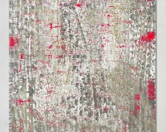 Painting, canvas, art, wall art, gray grey red pink white text large huge big modern contemporary