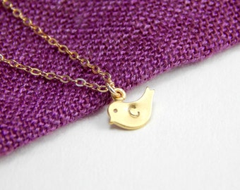 Small bird initial necklace, small gold bird necklace, initial necklace, gold necklace, gold bird charm, initial charm everyday necklace 063