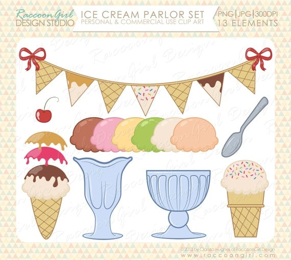 Ice Cream Parlor Clip Art Set Personal & by RaccoonGirlDesign