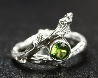 Sterling Silver Twig Ring with Birthstone Twig Jewelry, Branch Ring, Peridot Ring, August Birthstone
