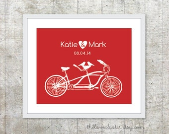 Wedding Personalized Couples Print - Love Poster- Tandem Bike and birds - Wall Art - Red