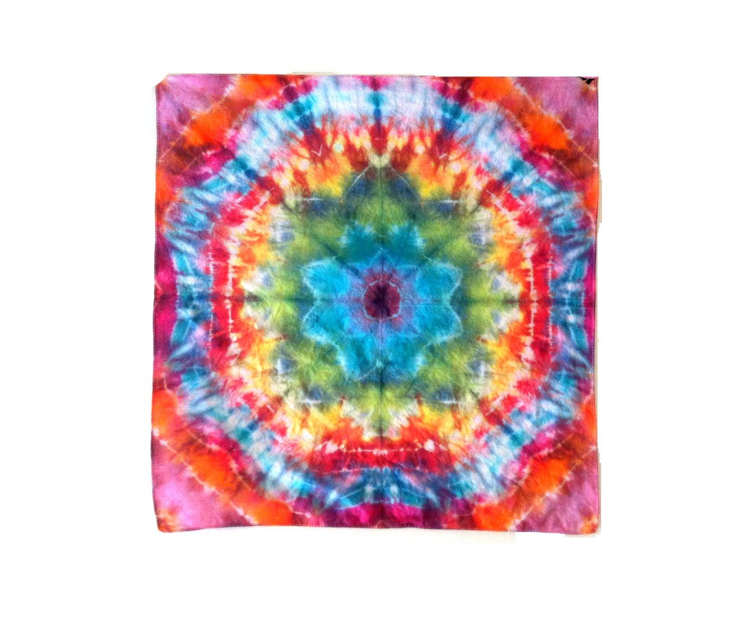 tie dye bandana rainbow mandala hippie by rainboweffectstiedye