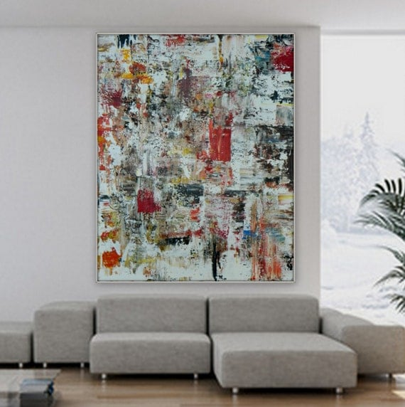 Huge Extra Large original abstract  original acrylic painting XL painting large wall art decoration custom order acrylic painting red black