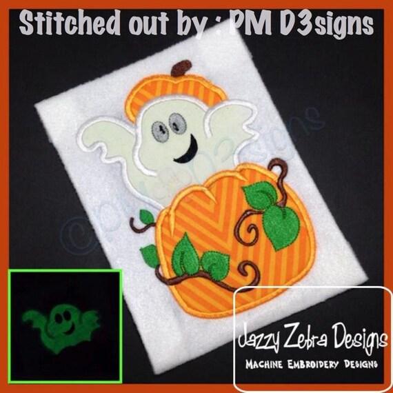 Ghost in Pumpkin Applique embroidery Design - Halloween Applique Design - ghost Applique Design - pumpkin Applique Design