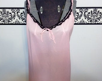 1960's Tangerine Pink with Black Lace Baby Doll Nightie Large / XL, Vintage Pink Negligee, Pin Up Lingerie , Mad Men Nightgown