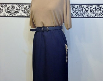 1960's Dark Navy Blue Rockabilly Skirt by Alfred Dunner, Size 18 w/ Elastic Waist, Vintage Pin Up / Hipster Skirt, Plus Size Secretary Skirt