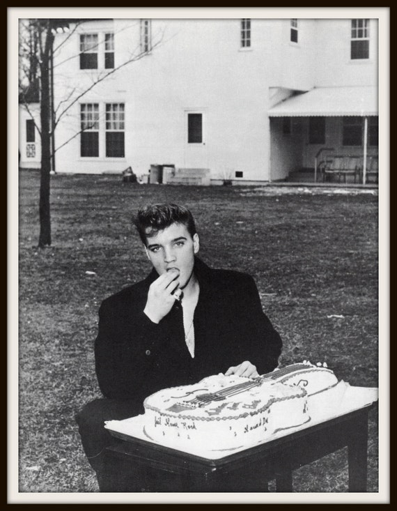 Vintage Photograph Elvis Presley Eating Birthday Cake 1950s