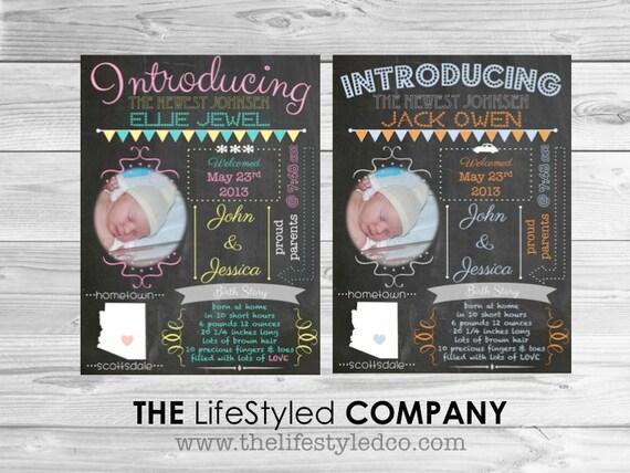 Chalkboard Birth Announcement Birth Announcement Infographic – Chalkboard Birth Announcement