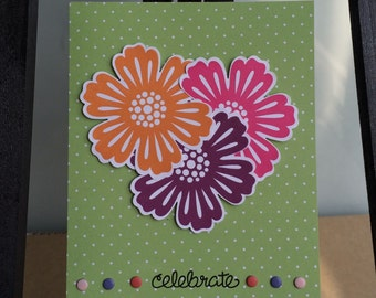 Handmade, stamped, Floral/Flower Heart-Shaped Celebrate Card