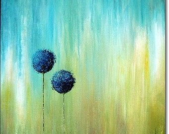 Acrylic Painting Canvas Art Giclee Abstract Landscape Art Print Floral Giclee Original Abstract Blue Green Yellow Wall Art Home Decor Print