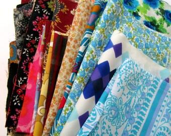 Fabric Scraps - Vintage and Reclaimed, patchworking, applique, DESTASH, fabric remnants