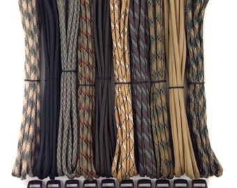 """550 Paracord Kit 100 ft for Paracord bracelets + 10 3/8"""" buckles 10 feet each - Type III 7 Strand Mil Spec Made in USA ~ DIY parachute cord"""