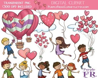 LOVE is in the AIR - Digital Clipart, Clip art. 20 images, 300 dpi. jpeg, png files. Instant download.