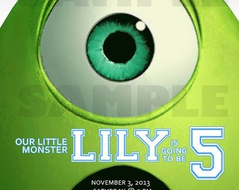 Monsters Inc. Mike Wazowski Birthday Invitation