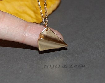 Paper airplane necklace, origami airplane necklace, folded airplane necklace