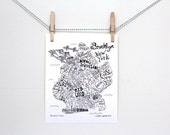 "Art Print. Brooklyn, New York, Map Illustration 8"" x 10"" 11"" x 14"""