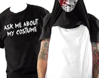 Halloween Costume Flip Tee - Hockey Mask Flip Up Shirt  - Halloween Costume for Adults - Funny Costume
